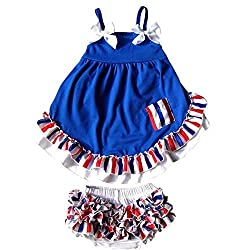 DQdq Baby Girls' Infant Ruffle Bloomers Sleeveless Top Sets Summer Outfit Blue 6 Month