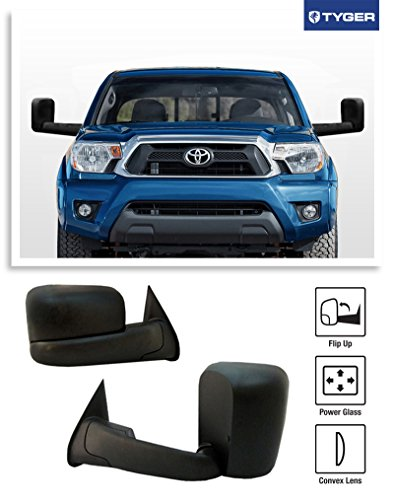 TYGER? 2005-2015 Toyota Tacoma Pickup Truck OE-Style Towing Mirrors Power Convex Lens Telescoping Extendable Arms Textured Black - Pair (Toyota Tow Mirrors compare prices)