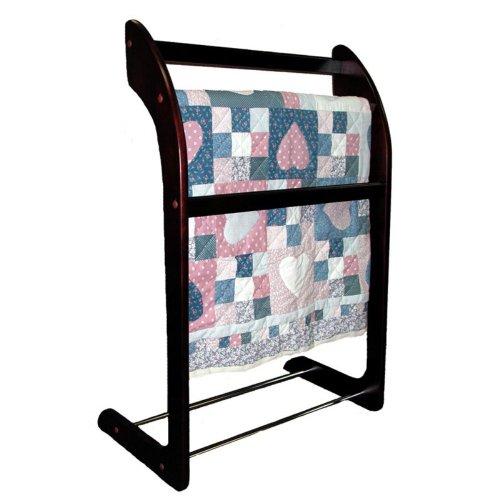 Quilt Rack - Wood and Chrome (Mahogany) (24