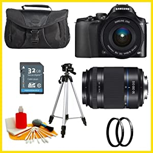 Samsung NX20 Smart Wi-Fi Digital Camera & 18-55mm Lens with 50-200mm Lens + 32GB Card + Case + Tripod + 2 UV Filters + Cleaning Kit
