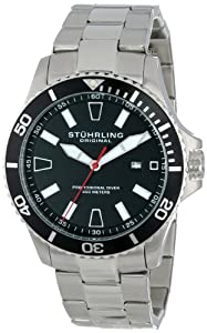 Stuhrling Original Men's 706B.01 Aquadiver Analog Display Japanese Quartz Silver Watch