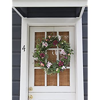 The Wreath Depot Windsor Silk Spring Door Wreath 24 Inch- Beautiful Silk Front Door Wreath For Spring And Easter Wreath Display, Handcrafted With Care, Beautiful White Gift Box Included