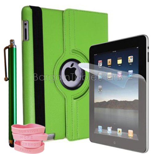 Southshore Technologies (R) Ipad 2 And Ipad 3 - Bundle - Green Synthetic Leather Rotating Case, Protective Screen & Stylus front-909417