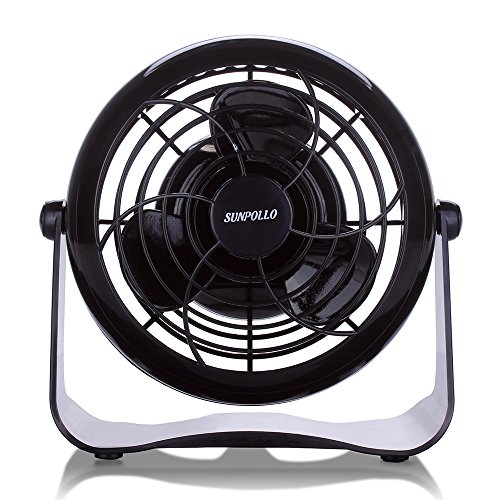 SUNPOLLO Desktop USB Fan, Mini Table Fan for Home and Office (USB Powered, Large Airflow, Personal Cooling, Quiet Operation, 4''). (Usb Desk Top Fan compare prices)