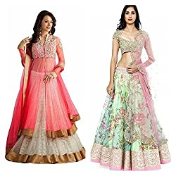The Desi Attire Women's Embroidered Lehenga Choli (Combo Pack of 2) (SKY_LC_4007)(Lehnga_145_Free Size_Pink)(Lehnga_118_Free Size_White&Pink)