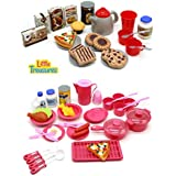 Little Treasures 2-in-1 Dishes Food Drinks Meal Time With Desert Set Kitchen Playset For Kids Pretend Play Cooking...