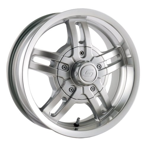 51iBe7Ruf1L 15x6 Trailer Style 12 (Silver w/ Machined Lip) Wheels/Rims