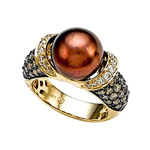 South Sea Chocolate Pearl Ring with Chocolate Diamonds Carlo Viani