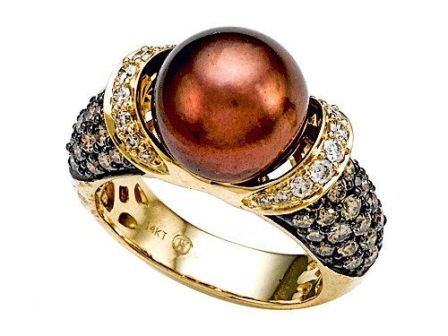 Carlo Viani® South Sea Chocolate Pearl Ring with Chocolate Diamonds - 14kt Yellow Gold