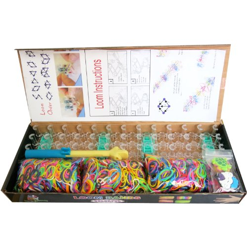 BSI-Value-Pack-Loom-Kit-1800-Mixcolors-Bands-Loom-Board-2-Mini-Hooks-1-Finger-Hook-1-Mini-Loom-12pcs-Charms-Great-Fun-for-Kids-Party