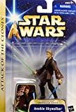 """Hasbro Year 2002 Star Wars Collection 1 """"Attack of the Clones"""" 4 Inch Tall ActionFigure #22 - Hangar Duel Anakin Skywalker with Green Lightsaber and Blue Lightsaber"""