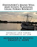 Davenport's Maine Will And Estate Planning Legal Forms Booklet
