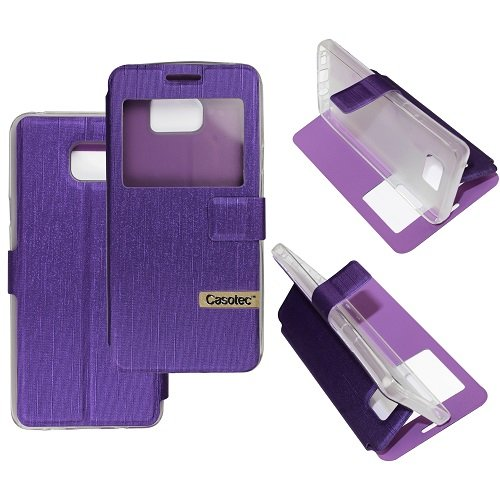 Casotec Premium Kickstand Caller-id Flip Cover with All-around TPU Inner Case and Snap Button Closure for Samsung Galaxy Note 5 - Purple  available at amazon for Rs.149