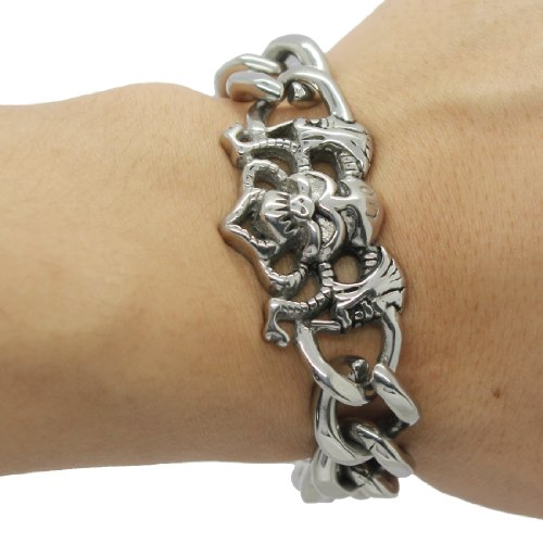 Mens Stainless Steel Link Chain Bangle / Bracelet with Skeleton Skull (LIFETIME WARRANTY)