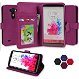 LG G3 Case, Abacus24-7 Wallet with Flip Cover and Stand, Purple