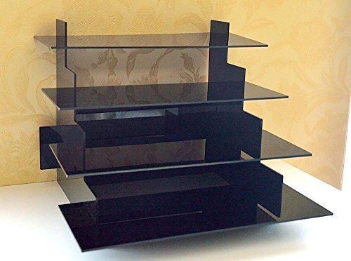 4 Tier Warenständer / Warenpräsenter / Verkaufsregal / Tisch Aufsteller aus Acryl Glas (Schwarz)