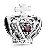 Mothers Day Gifts Pugster Silver Cross On Hollow Crown Ruby Garnet Red Crystal European Beads Fits Pandora Charm Bracelet