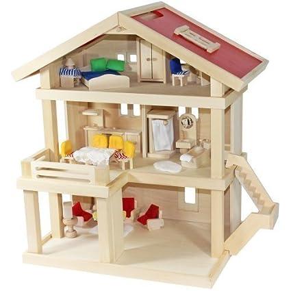 Freda - Maison de poupées - Villa résidentielle 3 étages - en bois - avec poignée - Ensemble de meubles 26 pièces + Housses - Dim.: 46 x 35 x 58 cm
