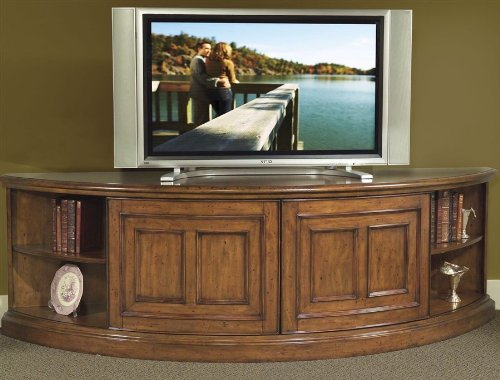 Riverside Furniture Delcastle Curved Wall TV Stand In Antique Irish Pine