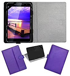 Acm Leather Flip Flap Case For Vizio Vz-K02 Tablet Cover Magnetic Closure Stand Purple