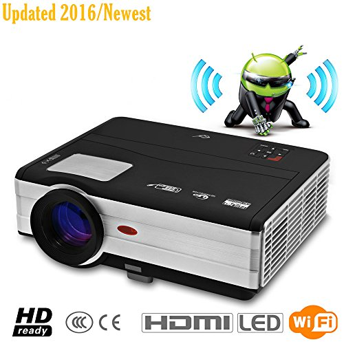 CAIWEI WIFI Projector LED Multimedia Projector Portable Native 1024*768 Support HD 1080P HDMI XGA 3D USB VGA for Home Theater Cinema Movie Video Game Audio Xbox Outdoor Camping Education Business