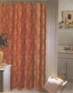 Moma Gold Red Brown Tan Swirl Fabric Shower Curtain
