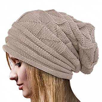 ... Knit Beanie Cap Hat (Beige) at Amazon Women's Clothing store