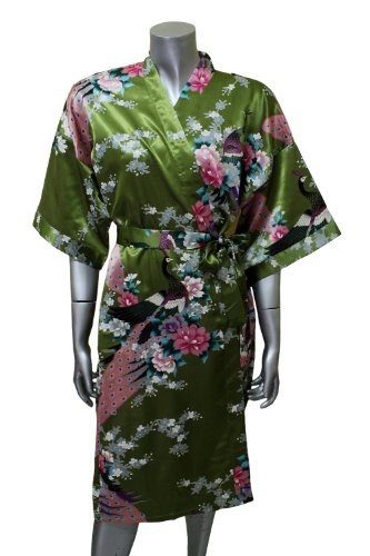 Asian Peacock Kimono Women's Satin Silk Robe - One Size - Olive