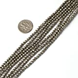 3mm round faceted gemsone silver gray pyrite beads strand 15