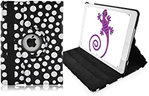JAMMYLIZARD Black - Polka Dot Leather 360 Degree Rotating Stand Case Cover for The New iPad Air (iPad 5, 5th Generation released November 1st 2013) with Full Sleep Wake compatibility