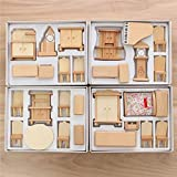 Brand new - New 29 Pcs 1:24 Scale Dollhouse Miniature Unpainted Wooden Furniture Model Suite