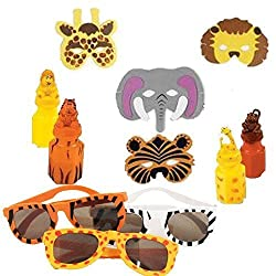 Safari Animal Party Favor Pack Including Bubbles, Sunglasses, and Masks for 12 Guests