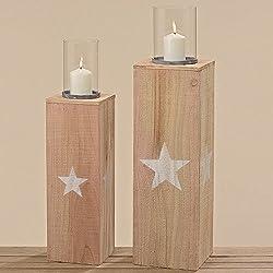 Hohes Windicht Windlichtsäule Holz mit Stern weiß Laterne 60 oder 70 cm H Deko (60 cm Höhe)