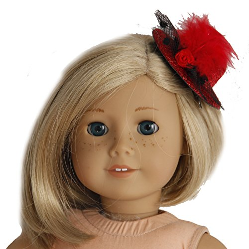 BUYS BY BELLA Red Feather Glittery Hat for 18 Inch Dolls Like American Girl - 1