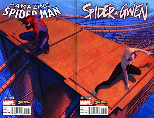 Amazing Spider-Man #15 & Spider-Gwen #1 Connecting COLOR Variant Set by Jorge Molina (Amazing Spider Man 15)