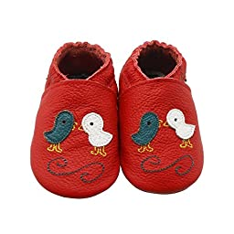 Sayoyo Baby Chicks Soft Sole Leather Infant Toddler Prewalker Shoes (Red, 12-18 months)