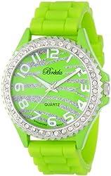 "Breda Women's 2302-limegreenzebra ""Ravynn"" Rhinestone Bezel Silicone Band Watch"