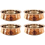 IndianArtVilla Set Of 4 Steel Copper Induction Handi 600 ML Each - Serving & Baking Dishes Indian Food Dal Curry...