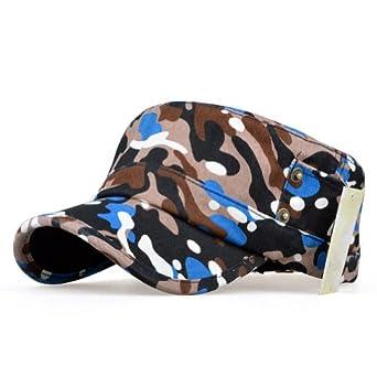 LOCOMO Camo Camouflage Army Military PU Leather Brim Flat Hat Cap FFH186BLU