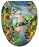 Toilet Tattoos TT-LS01-O Frogs in the Moonlight Design, Elongated