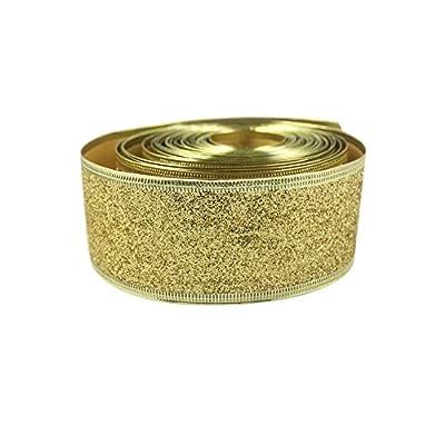 OurWarm® Ribbon Swirl Wired Sheer Glitter Ribbon 10Y Gold