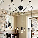 Unitary Brand Antique Black Large Barn Chandelier with 10 Lights Painted Finish Bulbs Included