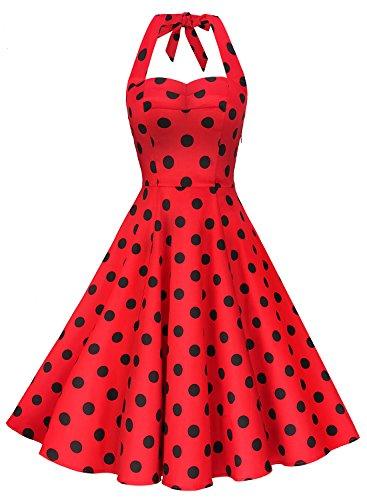 Anni Coco Women's Marilyn Monroe 1950s Vintage Halter Swing Tea Dresses Red & Black Polka Dots Large