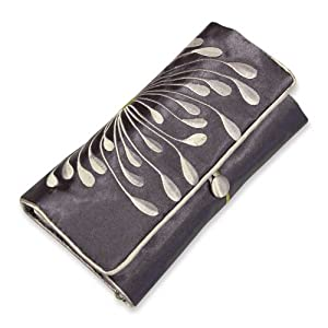 Embroidered Hyacinth Jewelry Roll, Large (Gunmetal)