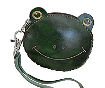 Leather Change/coin Purse, Jewelry Holder. A Lovely Green Frog Face. Zipper.