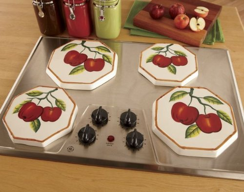 Tuscany Red Apple With Bamboo Trim Hand Painted, Stove Cover Set Of 4, 84355 By Ack back-271874