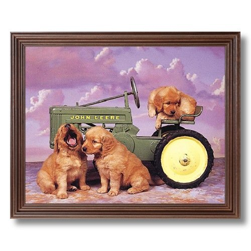 Framed Cherry Puppy Dog And John Deere Fram Tractor Kids Room Animal Pictures Art Print