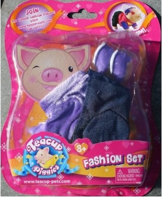 Teacup Piggies Fashion Set - Purple Velvet Shirt and Jeans Dress up Set - 1
