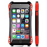 5IVE Slim Shockproof Military Case Cover with Glass Screen Protector Support Fingerprint Identification for iPhone (Black-Red, for iPhone 6s)