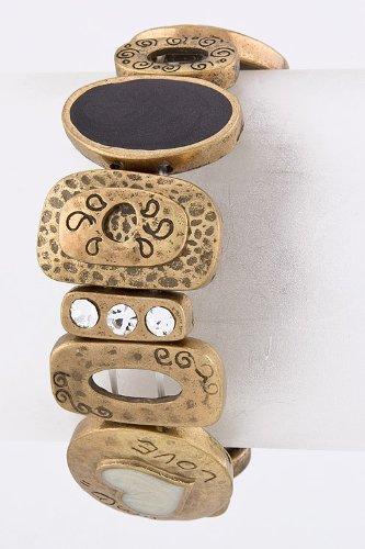 Trendy Fashion Jewelry Love Base Metal Bracelet By Fashion Destination   (Antique Gold)